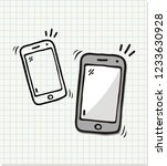 hand drawn phone icons  vector...   Shutterstock .eps vector #1233630928