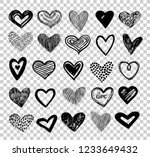 doodle hearts. hand drawn love... | Shutterstock .eps vector #1233649432