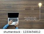 creative light bulb idea 2019... | Shutterstock . vector #1233656812