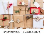 christmas rustic present gift... | Shutterstock . vector #1233662875