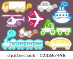 set of coloured transport icons ... | Shutterstock .eps vector #123367498