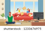 father in a state of stress... | Shutterstock .eps vector #1233676975