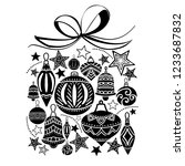 christmas gift  sketch drawing...   Shutterstock .eps vector #1233687832