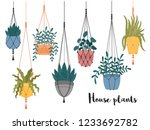set of macrame hanging plants... | Shutterstock .eps vector #1233692782