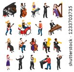 conductor singer and musicians... | Shutterstock .eps vector #1233703735