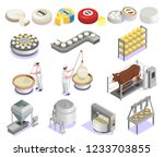 cheese production isometric set ... | Shutterstock .eps vector #1233703855