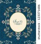 vintage floral frame on damask... | Shutterstock .eps vector #123371686