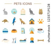 Stock vector pets icons set flat symbols of different home pets and animal care flat style vector illustration 1233719128