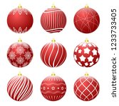 set of red christmas balls with ... | Shutterstock .eps vector #1233733405
