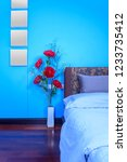 modern bedroom decoration with... | Shutterstock . vector #1233735412