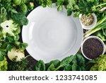 empty white plate vegetables ... | Shutterstock . vector #1233741085