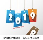 happy new 2019 year. greetings...   Shutterstock .eps vector #1233753325