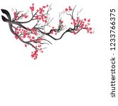 watercolor sakura frame.... | Shutterstock .eps vector #1233766375