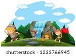 camping kids camping in nature... | Shutterstock .eps vector #1233766945