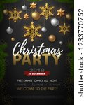 christmas poster with golden... | Shutterstock .eps vector #1233770752