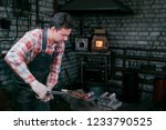 blacksmith working with red hot ... | Shutterstock . vector #1233790525