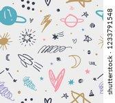 vector doodle space pattern.... | Shutterstock .eps vector #1233791548