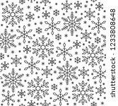 snowflake black line seamless... | Shutterstock .eps vector #1233808648