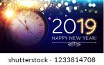 happy hew 2019 year  clock ... | Shutterstock .eps vector #1233814708