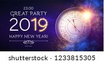 happy hew 2019 year  clock ... | Shutterstock .eps vector #1233815305