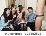 cheerful young women enjoying...   Shutterstock . vector #123382528