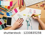 top view on fashion designer at ... | Shutterstock . vector #1233835258