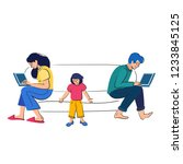 busy parents work behind... | Shutterstock .eps vector #1233845125