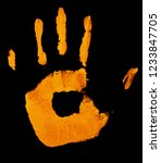 yellow hand print isolated on... | Shutterstock . vector #1233847705