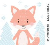 fox baby winter print. cute... | Shutterstock .eps vector #1233848662