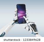 white robot hand holding modern ... | Shutterstock . vector #1233849628