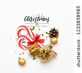 christmas greeting card. xmas... | Shutterstock .eps vector #1233858985