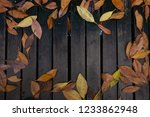 flat lay autumn leaves on... | Shutterstock . vector #1233862948