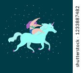 cute magic unicorns on a floral ...   Shutterstock .eps vector #1233887482