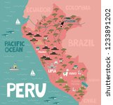 illustration map of peru with... | Shutterstock .eps vector #1233891202