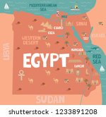 illustration map of egypt with... | Shutterstock .eps vector #1233891208