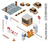 parking elements concept 3d... | Shutterstock .eps vector #1233894835