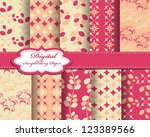 set of flower vector paper for... | Shutterstock .eps vector #123389566