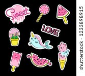 fashion patch stickers badges... | Shutterstock .eps vector #1233898915