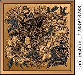garden peonies and wild leopard.... | Shutterstock .eps vector #1233913288