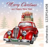 christmas background with retro ... | Shutterstock .eps vector #1233916408