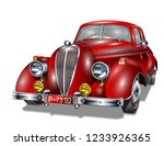retro car isolated on white... | Shutterstock .eps vector #1233926365