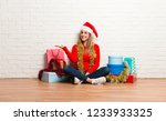 girl with christmas hat and... | Shutterstock . vector #1233933325