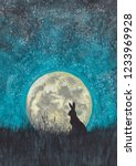 Stock photo hare on the background of the moon hare night drawing 1233969928