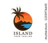 beach logo design and tropical... | Shutterstock .eps vector #1233976645