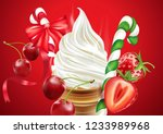 christmas ice cream cone with... | Shutterstock .eps vector #1233989968
