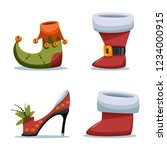 christmas shoes santa claus and ... | Shutterstock .eps vector #1234000915