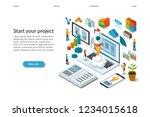 business startup isometric... | Shutterstock .eps vector #1234015618