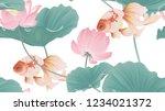 botanical seamless pattern ... | Shutterstock .eps vector #1234021372