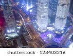 shanghai night skyline at... | Shutterstock . vector #123403216