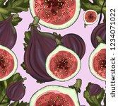 fruity seamless pattern of figs ... | Shutterstock .eps vector #1234071022